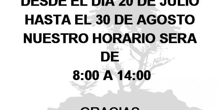 Horario Estival a partir del 20 de Julio