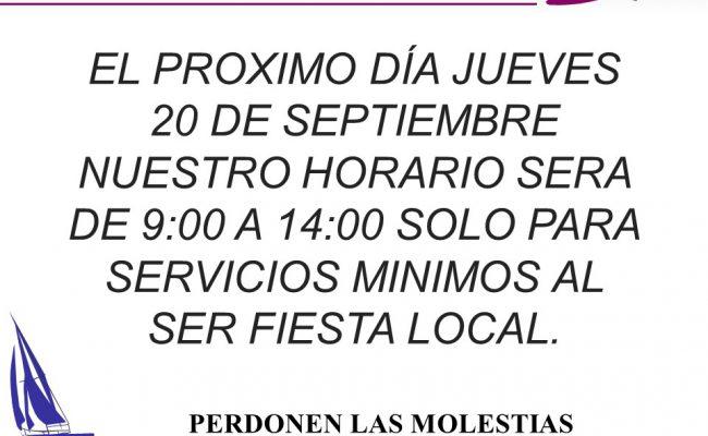 Horario Especial con motivo Fiesta Local